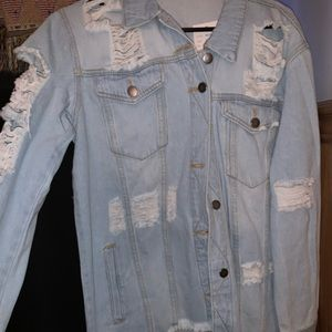 Forever 21 Ripped Jean Jacket